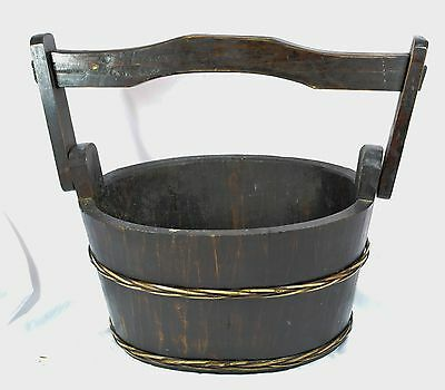 Antique Chinese Wooden Water Bucket  ~ 11 inches tall and 9 inches wide~