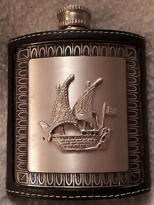 Attractive Leather Covered Metal Coat Pocket Whiskey Flask - Sailing Ship