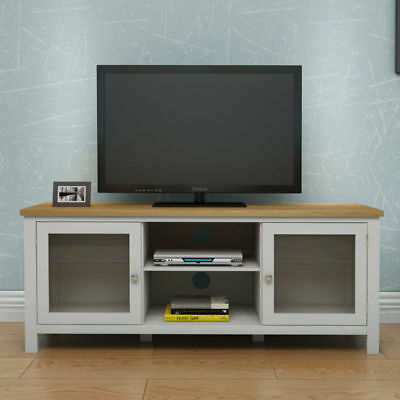 Modern Solid Oak Corner Tv Stand 2 Door Wooden Cabinet Shelves