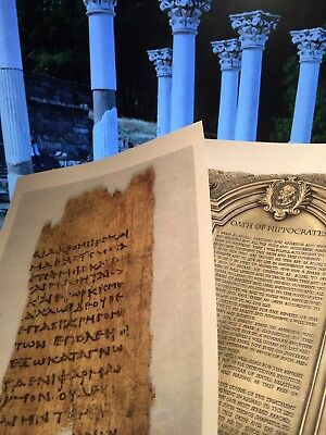 Hippocratic oath Papyrus TEXT Fragment &English Translation Accented in Silver