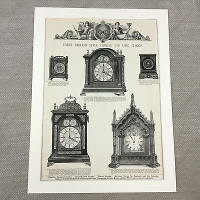 Victorian Print Bracket Clock  Antique Advertising Pattern Guide 19th Century