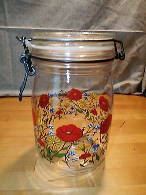 1L Poppies & Wildflowers R. Carman France Glass Jar Canister