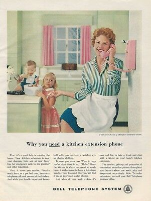 1959 BELL TELEPHONE System PINK Kitchen Wall Phone CAKE BAKING Vintage Print Ad