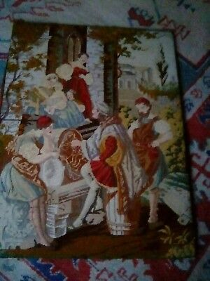 Antique Berlin Woolwork Tapestry cross stitch Picture.Hand Worked