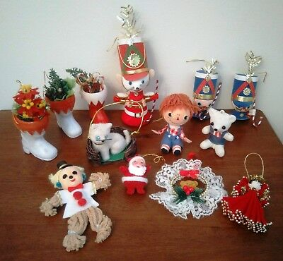 Collection Of Vintage Flocked Christmas Ornaments