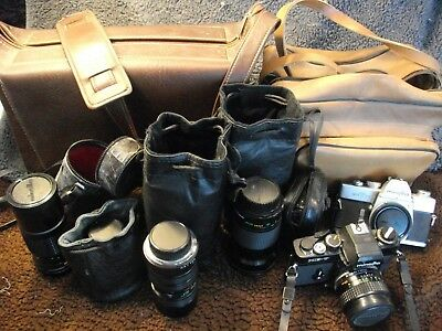 Vintage Minolta SRT 101/XR-7 cameras/5 lenses + flashes/accessories HUGE LOT!!!