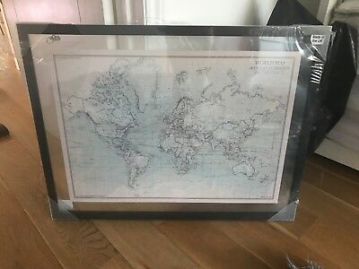 Framed World Map Of Ocean Currents Brand New