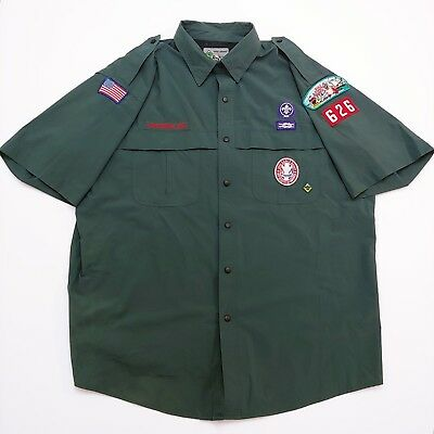 Venturing Boy Scouts of America BSA Adult Vented Uniform Shirt Green Size XL