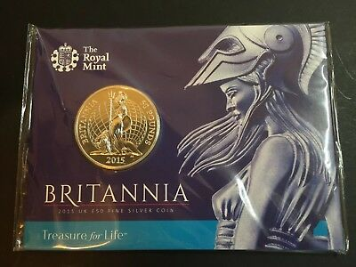 The very first £50 UK face value coin (Britannia), UNC condition, includes cover