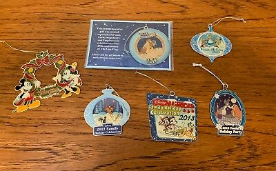 Cast Member Exclusive DISNEY Family Holiday Celebration Ornament Lot 2010-2014