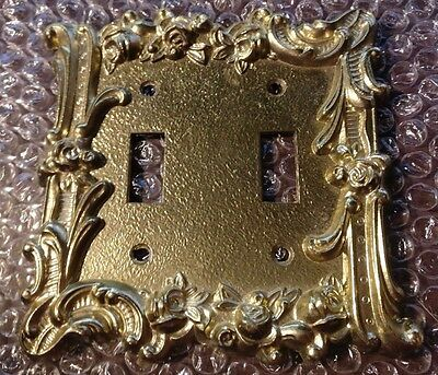 Edmar Gold Metal Ornate Double Light Switch Cover Decorative Hollywood Regency
