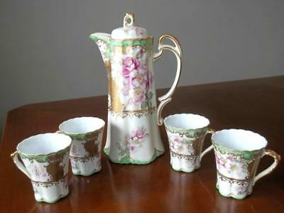 Antique Vintage Hand Painted Nippon Pot with 4 Matching Cups Pink Flowers