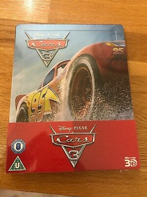 Disney Pixar Cars 3 Limited Edition 3D uk Blu Ray Steelbook - new and sealed