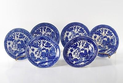 ANTIQUE BLUE WILLOW CUP SAUCERS Group of 6 Japan Vintage Plates Dishes