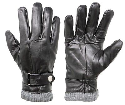 New Men's Classy 100% Leather Winter Warm Gloves with Strap Driving Gloves