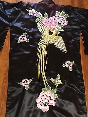Japanese Kimono Robe Embroidered Bird Satin Purple Pink Womens Wrap Long Sz L?