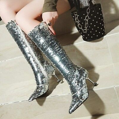 Ladies Trendy Sexy Glitter Sequins Pointy Toe Kitten Heels Prom Dress Party Boot