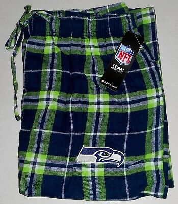 Seattle Seahawks Mens Flannel Sleep Lounge Pajamas Pant M L Xl 2X Blue Green Nwt