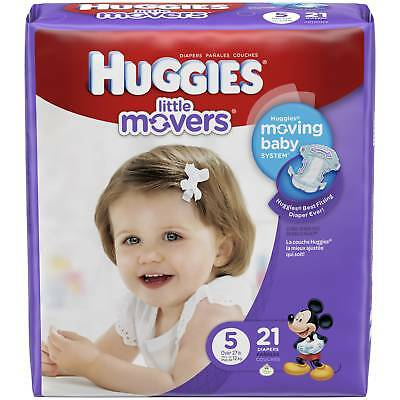 Kimberly's Huggies Little Movers Size 5 Diapers Jumbo Pack 21Count (PACK OF 4)