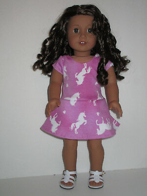 "Unicorns/Pink Knit Dress for 18"" Doll American Girl Doll Clothes"