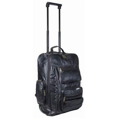 Leather Rolling Carry-On Trolley Backpack, Mens Black Overnight Travel Suitcase