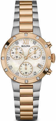 Bulova Women's Chronograph Mother Of Pearl Dial Two Tone Watch 98R210