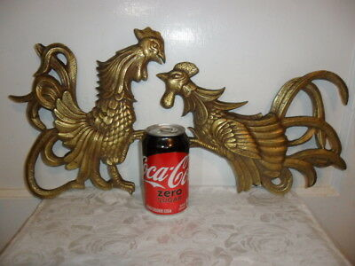 Antique/Vtg Solid Brass Pair Of LARGE Fighting Cocks/Roosters Wall Hangings RARE