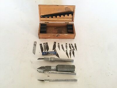 Vintage Wood Working X-acto Knife Set With Wooden Box Case