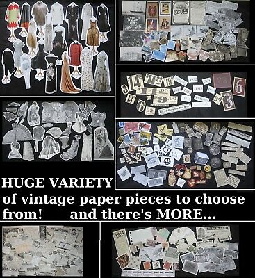 Collage Art/Junk Journal Embellishment Paper Piece Lots~Vtg Ephemera Scraps&Cuts