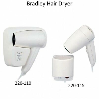 New Bradley 220 Dual Heat Hair Dryer Wall Mounted - Compact White Abs Casing