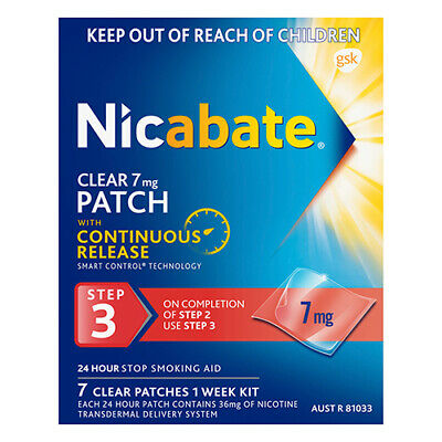 NEW Nicabate Clear Patch 7 Mg Step 3 7 Pack