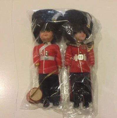 Two Vintage Queen's guard dolls with  bearskin hats
