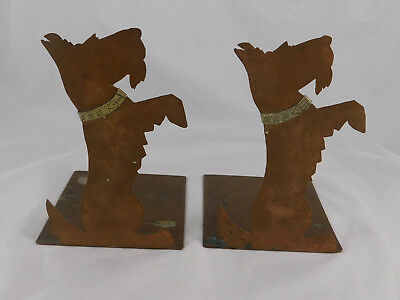 Pair Arts & Crafts Hammered Copper Bookends Begging Scottie Dogs Applied Collars