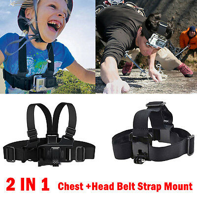For GoPro Hero 1 2 3 Camera Head Chest Belt Strap Mount Accessories Kit