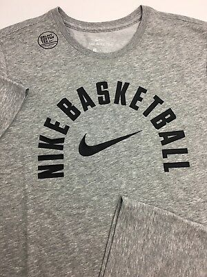 Mens Nike Basketball Dry DRI-FIT Athletic Cut T-Shirt Grey Gray Black AJ7509 063