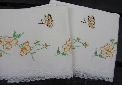 1940's Vintage Hand Embroidered Pillow Cases - Dainty Florals Butterfly ~ NICE