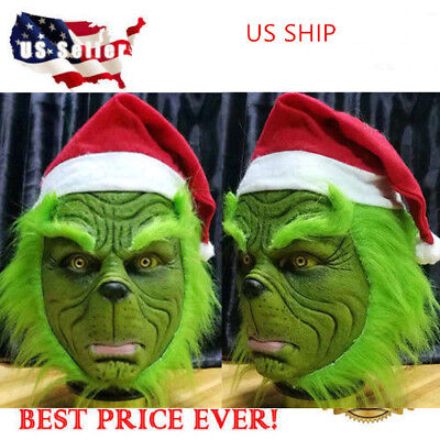 US Grinch Stole Christmas Latex Mask With Long Hair Xmas Party Helmet Adult Prop