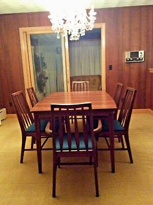 Vintage Mid-century Modern Dining Set - Table + 3 leafs & 6 Chairs w Fabric EUC