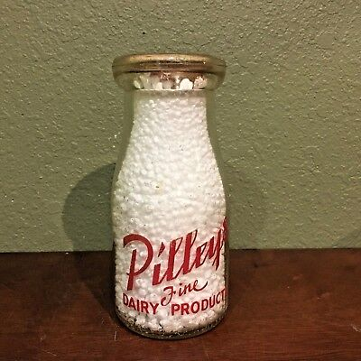 Pilleys Dairy Red Pyro Double Sided Half Pint Milk Bottle - Springfield, Mo.