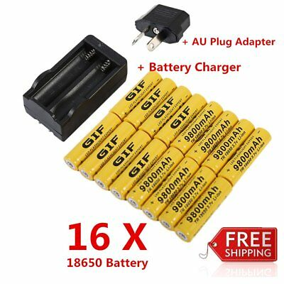 18650 Li-ion Battery 9800mAh 3.7V Rechargeable Batteries with Battery Chargee AY
