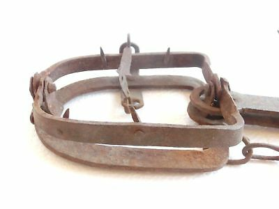 ANTIQUE wrought iron Very STRONG Spring Jackal, Fox..TRAP w/ teeth, chain & hook