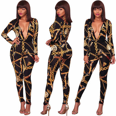 US Women Sexy Print Long Sleeve Deep V neck Bodycon Club Party Jumpsuit Romper