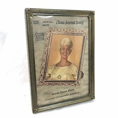 Vintage Antique Ornate Decorel 5x7 Gold Tone Metal Frame with Easel Back #4905