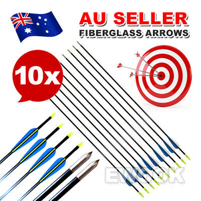 "N31"" Extra Heavy Duty Fiberglass Arrows For Compound And Recurve Bow Archery AU"
