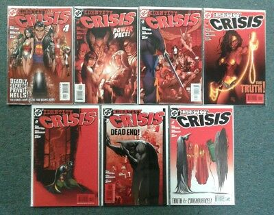 Identity Crisis 1-7 Complete Set Lot Run (DC Comics 2004)! RED Covers All NM!
