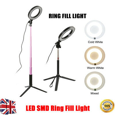 LED 3 Modes Dimmable Studio Camera Ring Light Photo Phone Video Fill Lamp