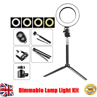 "8"" LED Studio Ring Light Photo Video Dimmable Lamp Light Kit Camera & Phone UK"