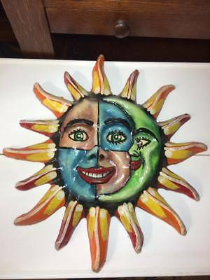 Vintage paper mache sun and moon