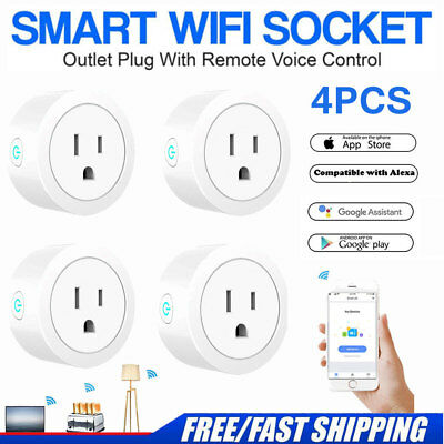4PCS Wifi Smart Plug Remote Control Outlet Socket Works with Alexa&Google Home