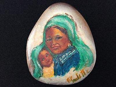 OOAK Hand Painted Rock Woman and Child with Headscarf Signed Raulette Folk Art